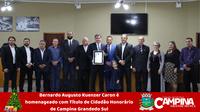 BERNARDO AUGUSTO KUENZER CARON É HOMENAGEADO COM TÍTULO DE CIDADÃO HONORÁRIO DE CAMPINA GRANDE DO SUL